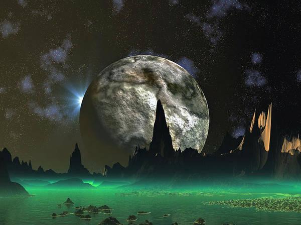 David Jackson Beach Eclipse Alien Landscape Planets Scifi Poster featuring the digital art Beach Eclipse by David Jackson