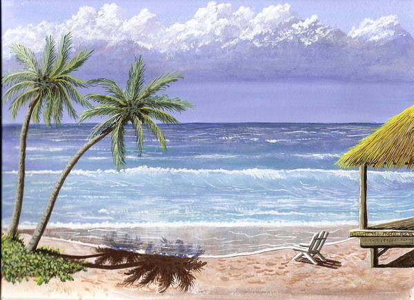 Ocean Poster featuring the painting Beach House by Don Lindemann