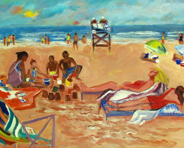 Beach Poster featuring the painting Beach In August by Betty Pieper