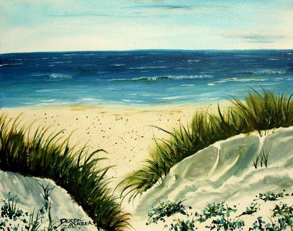 Beach Poster featuring the painting Beach Sand Dunes Acrylic Painting by Derek Mccrea