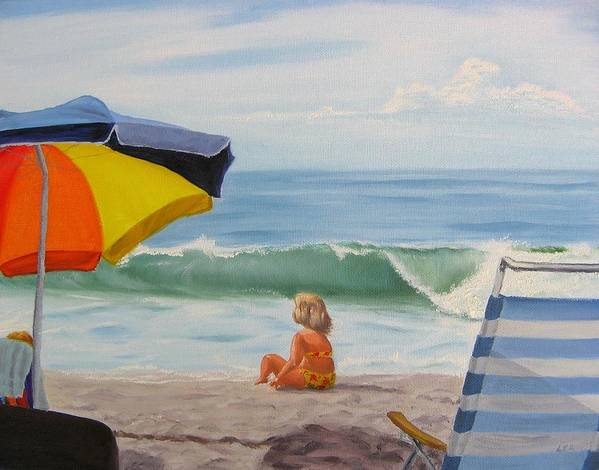 Seascape Poster featuring the painting Beach Scene - Childhood by Lea Novak