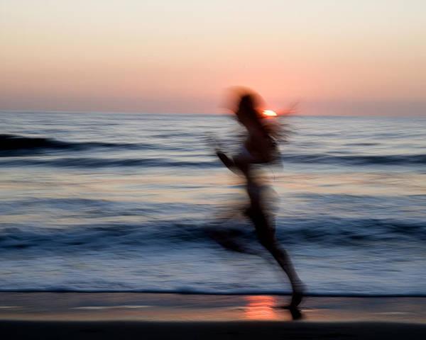 Run Poster featuring the photograph Beach Sprint by Brad Rickerby