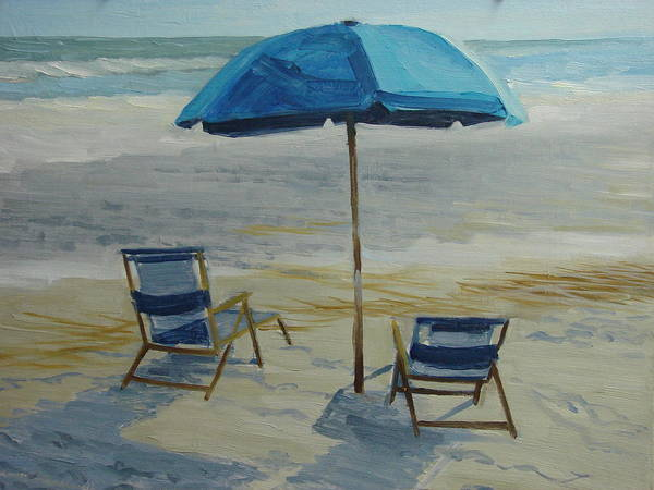 Beach Poster featuring the painting Beach Umbrella - Hilton Head by Robert Rohrich