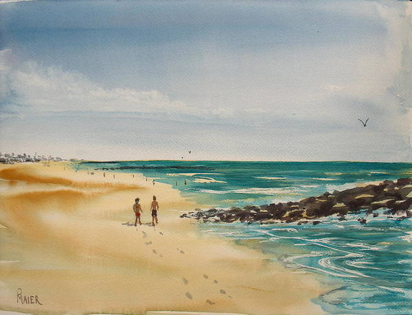 Seascape Poster featuring the painting Beach Walk by Pete Maier