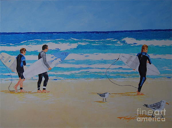 Beach Scene Poster featuring the painting Beach Walkers by Art Mantia