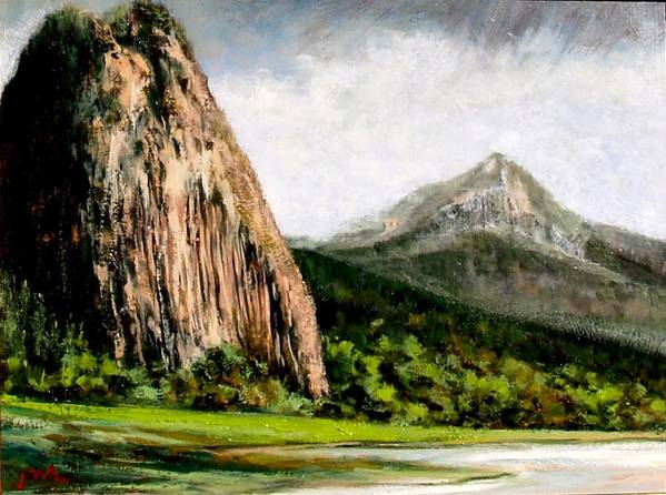 Landscape Poster featuring the painting Beacon Rock Washington by Jim Gola