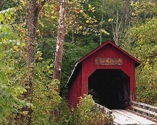 Covered Bridge Poster featuring the photograph Bean Blossom Bridge I by Margie Wildblood