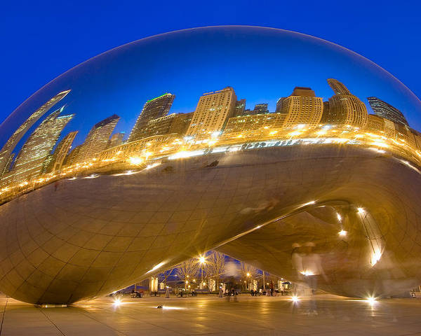 Chicago Poster featuring the photograph Bean Reflections by Donald Schwartz