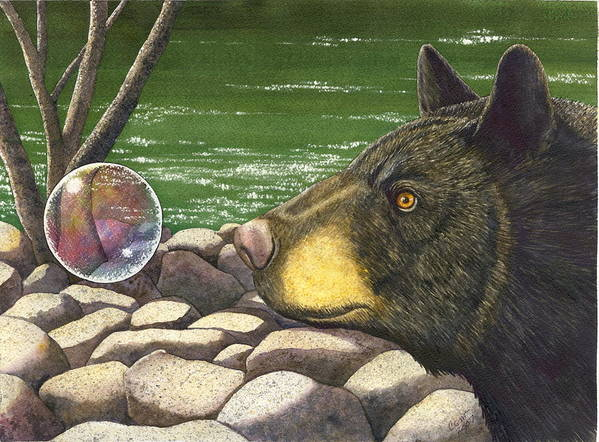 Black Bear Poster featuring the painting Bear bubble by Catherine G McElroy
