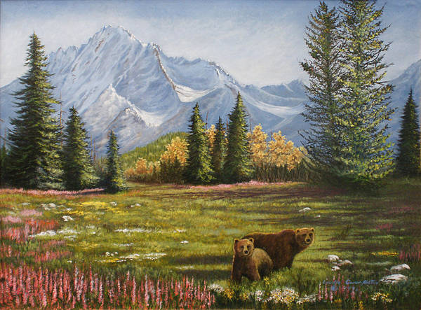 Landscape Poster featuring the painting Bear Country by Lucille Owen-Huston