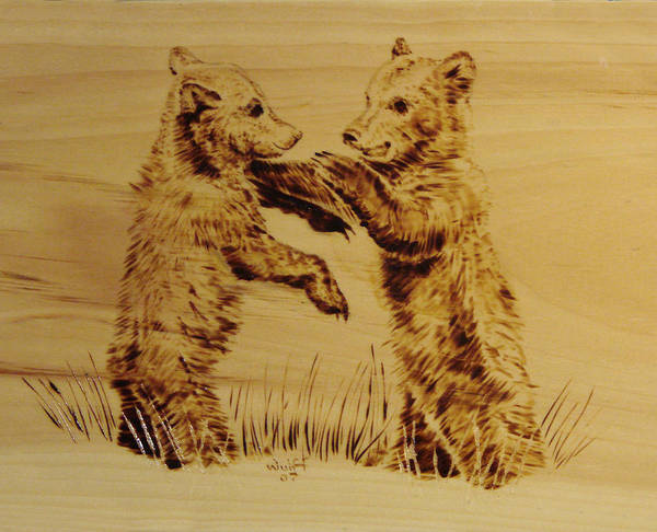 Grizzly Poster featuring the pyrography Bear Cubs by Chris Wulff