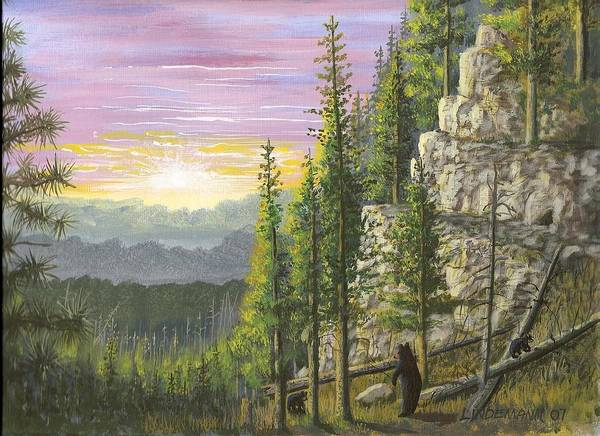 Bears Poster featuring the painting Bear Mountain by Don Lindemann