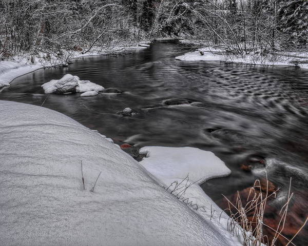 Winter Poster featuring the photograph Bearskin Creek Riffles by Dale Kauzlaric