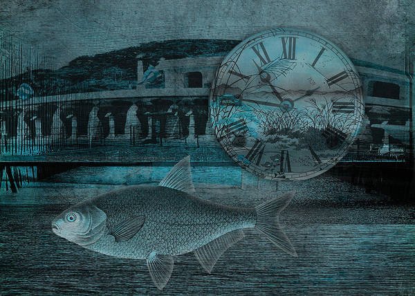 Clock Poster featuring the digital art Beating The Blues by Sarah Vernon