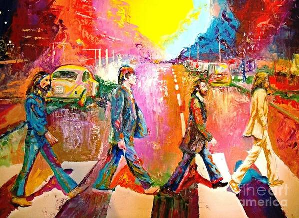 Impressionistice Version Poster featuring the painting Beatles Abbey Road by Leland Castro