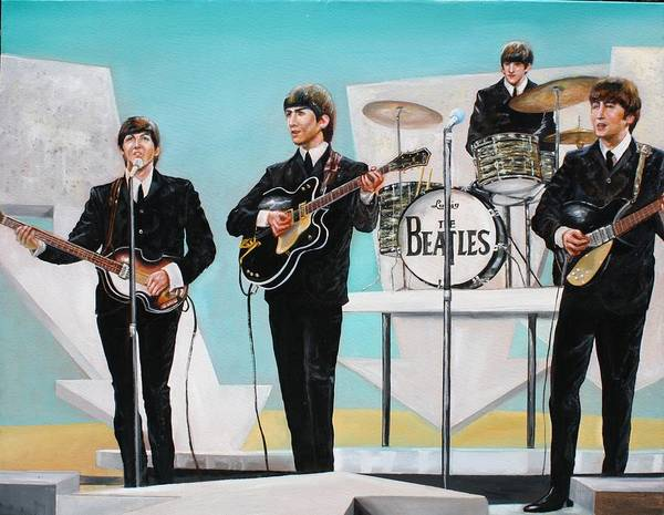 Beatles Poster featuring the painting Beatles on Ed Sullivan by Leland Castro