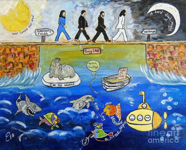 The Beatles Poster featuring the painting Beatles Song Titles Original Painting Characterization by Ella Kaye Dickey