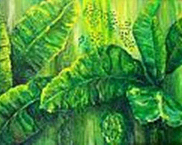 Poster featuring the painting Beautiful Banana Leaves by Carol P Kingsley