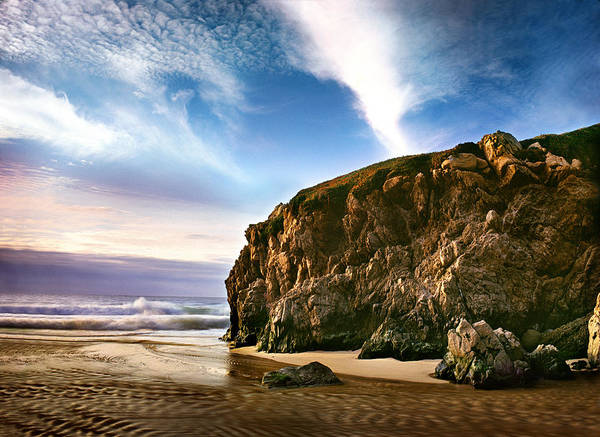 Photo; Photography; Landscape; Nature; Naturescape; Scenic; California; West; American West; Ocean; Beach; Oceanscape; Pacific Ocean; Water; Tide; Shore; Shoreline; Tide; Rock; Cliff; Cove; River; Creek; Moving Water; Flowing Water; Long Exposure; Big Sur; Monterey; Carmel; Garrapata Beach; Garrapata State Park; Sunset; Soft Light; Long Light; Garrapata Creek; Clouds; Sky; Blue Sky; Purple; Blue; White; Green; Brown; Tan; Monterey County; Big Sur Coast; Highway 1; Hwy 1; Horizontal; Waves; Incoming Waves; Cool; Spring; Fall; Winter; Summer; Seasons; Film; Medium Format; Mamiya; 645; Bogen; Monfrotto; Edward Mendes; Zen; Home Decor; Interior Design; Wall Decor; Wall Coverings; Eco; Environment; Wall Art; Travel; Adventure; Fine Art; Art; Photographic Art; Fine Art Photography; Texture; Detail; Collections; Pristine Poster featuring the photograph Beautiful Cove by Edward Mendes