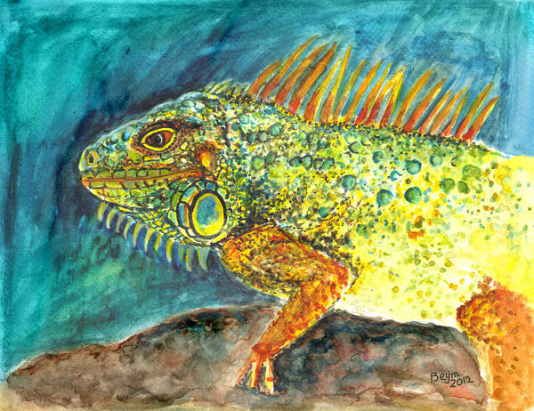 Iguana Poster featuring the painting Beautiful Monster by Clara Sue Beym