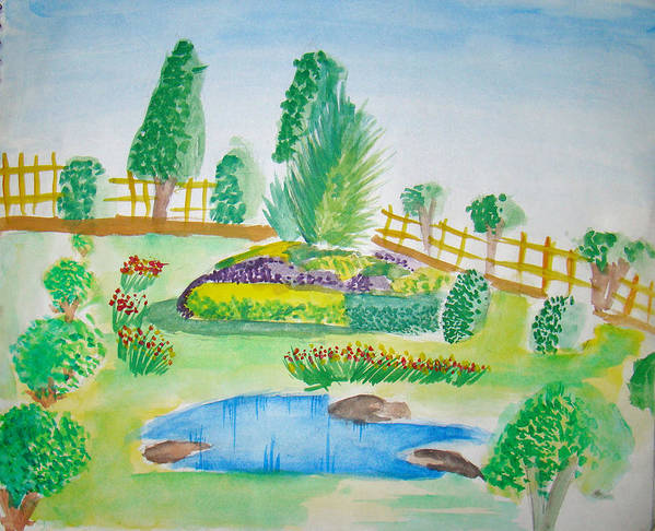 Landscape Poster featuring the painting Beautiful Park by Tanmay Singh