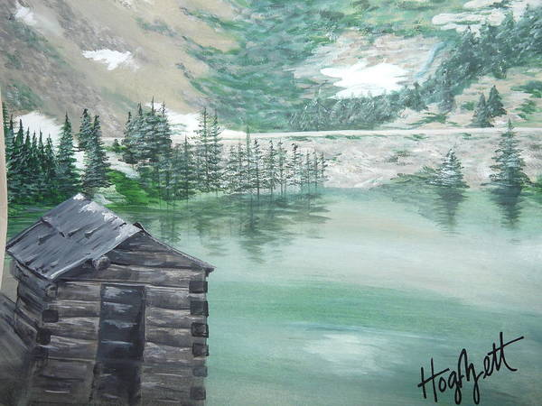 This Painting Is A View Of Poster featuring the painting Beautiful Water Cabin by Laura Hogzett