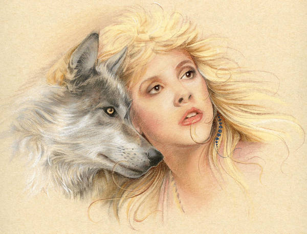 Stevie Nicks Poster featuring the drawing Beauty And The Beast by Johanna Pieterman