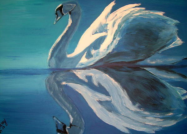 Swan Poster featuring the painting Beauty Reflected by Vickie Wooten