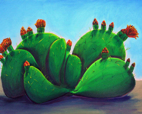 Cactus Poster featuring the painting Beavertail Cactus by Karen Aune