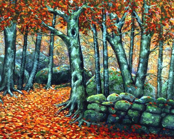 Landscape Poster featuring the painting Beech Woods by Frank Wilson