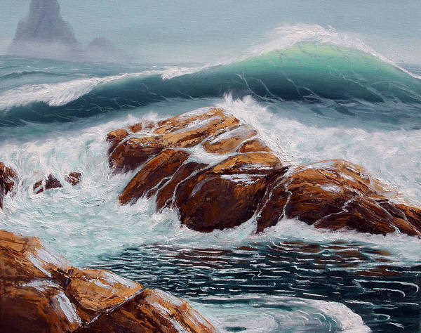 Sea Scapes Poster featuring the painting Before The Storm by Lorraine Foster