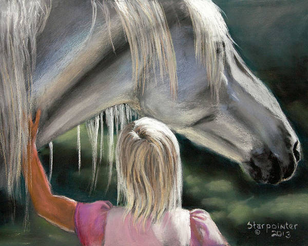Horse Poster featuring the pastel Beginnings by T Kurtz
