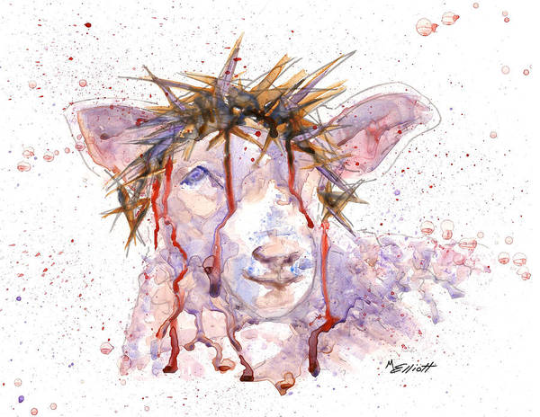 Lamb Poster featuring the painting Behold The Lamb by Marsha Elliott