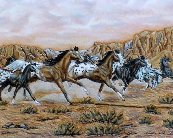 Horses Poster featuring the painting Being Free by Lilly King
