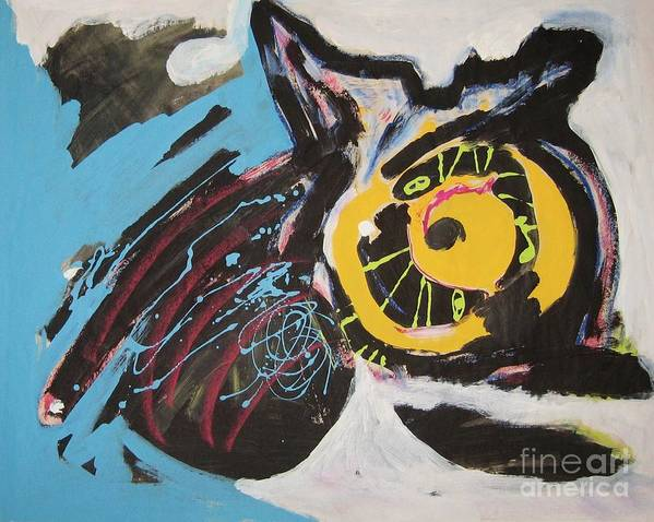 Abstract Cat Paintings Poster featuring the painting Being Lazy by Seon-Jeong Kim