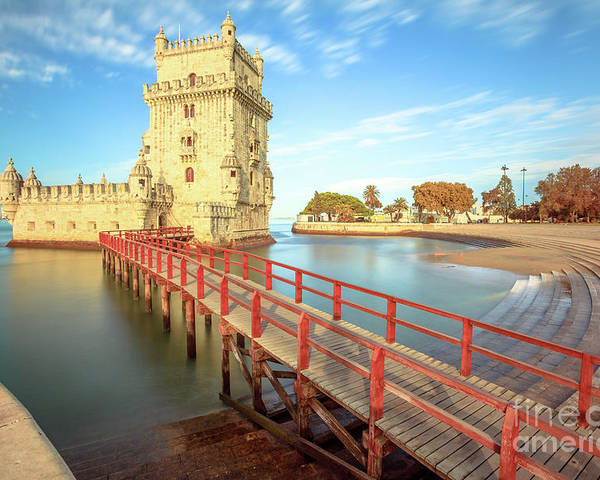 Lisbon Poster featuring the photograph Belem Tower Lisbon by Benny Marty