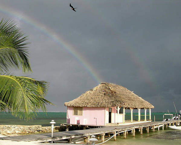 Pier Poster featuring the photograph Belize Double Rainbow by Jessica Estrada
