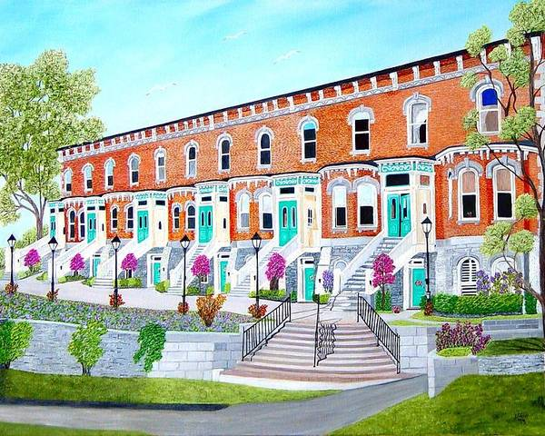 Belleville Ontario Buildings Painting Poster featuring the painting Bellevue Terace circa 1876 by Peggy Holcroft