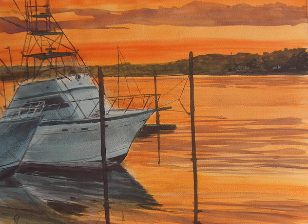 Sunset Poster featuring the painting Belmar Sunset by Pete Maier