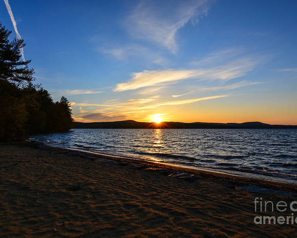 Sunset Poster featuring the photograph Belmont Nh Beach by Mim White