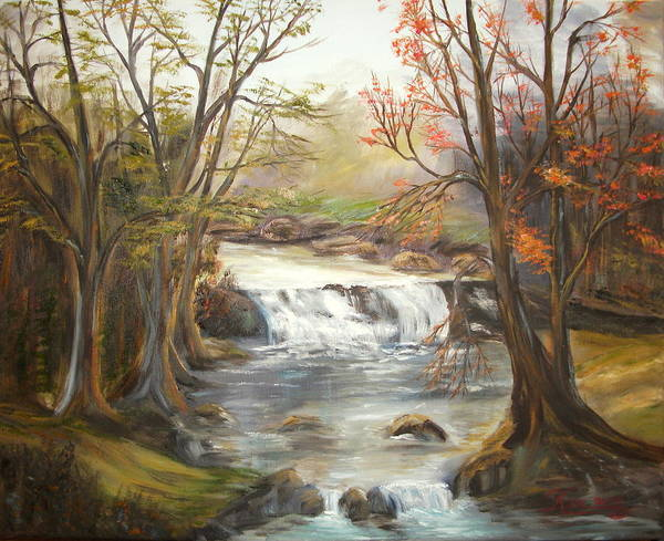 Landscape Poster featuring the painting Below the falls by Kenneth LePoidevin