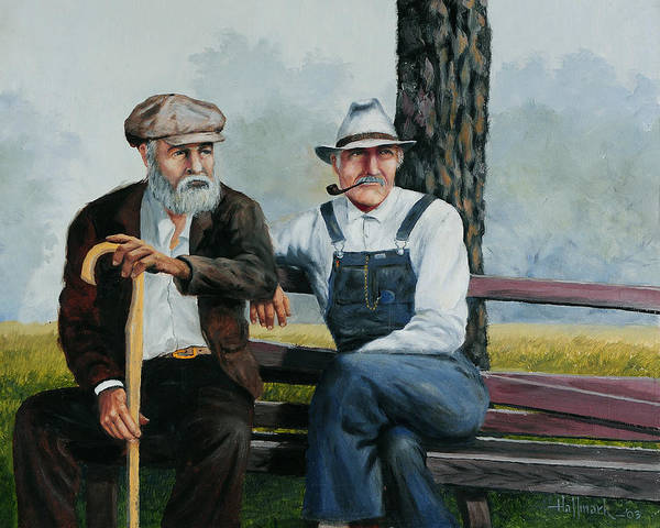Bob Hallmark Poster featuring the painting Bench Warmers by Bob Hallmark