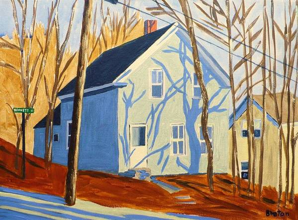 Landscape Poster featuring the painting Bennett Street Houses by Laurie Breton