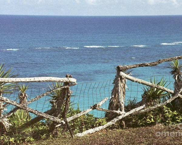 Bermuda Poster featuring the photograph Bermuda Fence And Ocean Overlook by Heather Kirk