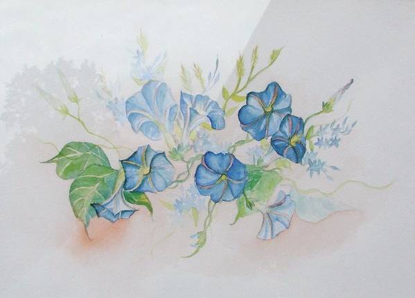 Bermuda Poster featuring the painting Bermuda Morning Glories by Phyllis OShields