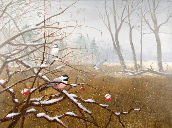 Chickadees Poster featuring the painting Berry Good Friends by Sean Seal