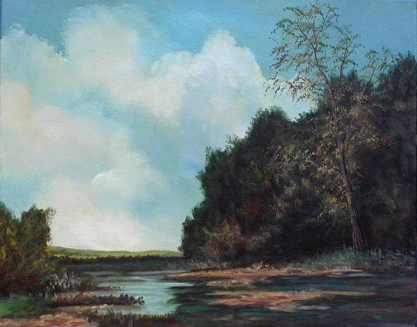 Original Acrylic Landscape On Canvas Poster featuring the painting Beside Still Waters by Sharon Steinhaus