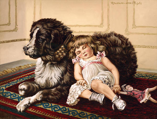 Victorian Poster featuring the painting Best Friends by Richard De Wolfe