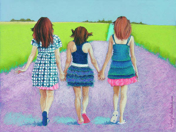 Girl Poster featuring the pastel Best Friends by Tracy L Teeter