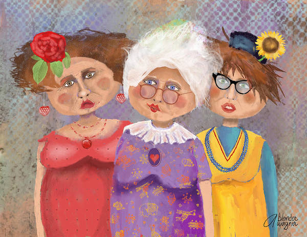 Ladies Poster featuring the digital art Bestfriendsforever by Arline Wagner